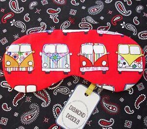 Eye Sleep Mask  Camper Van Cotton Red Travel Blackout Soft Relax UK Made Gift