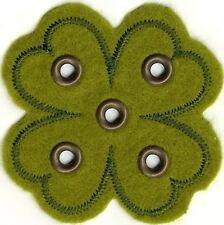 "2 1/8"" Green Felt Grommet Four Leaf Clover Embroidery patch"