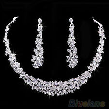 Women Luxury Rhinestone Bridal Short Chain Necklace Long Earrings Jewelry Set