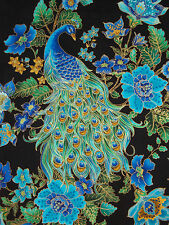 1 YD TIMELESS TREASURES LARGE SCALE PEACOCKS FLORAL METALLIC GOLD COTTON FABRIC