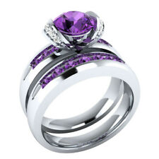Gorgeous Round Cut Amethyst Women 925 Silver Jewelry Wedding Ring Size 7