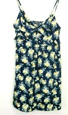 Primark Womens Strappy Frills Navy Floral Print Summer Bow Mini Dress Size 12
