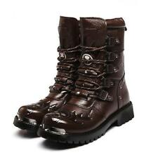 Mens punk leather Buckle boots Desert Combat Military Mid Calf military Boots
