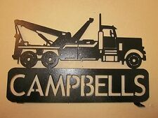 2 SIDE TOW TRUCK(YOUR NAME) MAILBOX TOPPER TEXTURED BLACK POWDER COAT FINISH