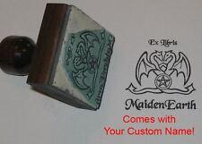 Dragon w/Pentagram Ex Libris Rubber Stamp w/Custom Name