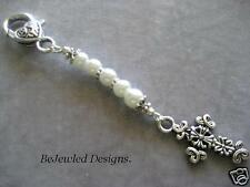 Antique Look Silver Flower Tibetan Cross Bag Dangle with White Glass Pearls