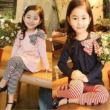 NEW! Girl's Holiday Christmas 2PC Bow Top +Striped Legging Party Birthday Outfit