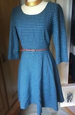 Boden Wool Blend Teal Polka Dot Fit and Flare Dress Size US 8 or UK 12