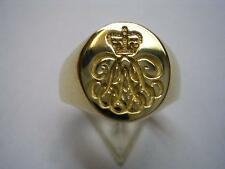 New 9ct Gold ROYAL ARTILLERY CYPHER Seal Style Signet Ring. Excellent Quality.