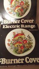 "MUSHROOMS (2) Enameled Steel Electric Range Stove Burner Covers 1978 -  8"""