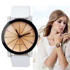 Elegant Damen Quarz Uhr Edelstahl Kristall Leder Band Casual Armbanduhr Watch