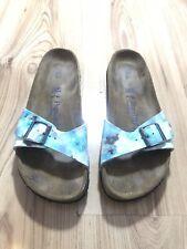 Birkenstock Papillo Blue Foodbed Madrid Buckle Slip On Sandal Size 41