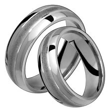Classic Titanium Ring Comfort Fit 7mm Wide Polished Engagement Band Set Him Her