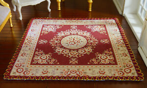 Beautiful Burgandy Victorian Floral 1/12 Scale Dollhouse Miniature Lace Rug