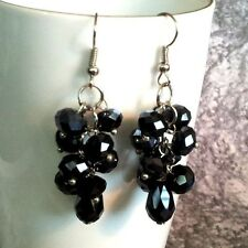 "Handmade Jet Black Faceted Crystal Rondelle and Teardrop 2"" Long Earrings"
