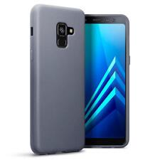 Slim Rubber Bumper Gel Case Cover for Samsung Galaxy A8 2018 - Matte Grey