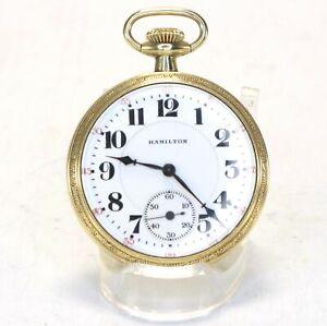 Hamilton Pocket Watch 996 16 Size 19 Jewel Gold Filled Railroad Grade - LY2033