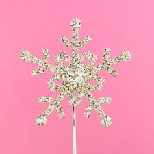 Cake Topper Rhinestone Snowflake Diamante Cake Topper Silver - 5.5cm UK Vincenza