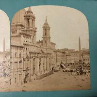 Rome Italy Early Italian Stereoview Piazza Navona Roma Stereograph circa 1860s