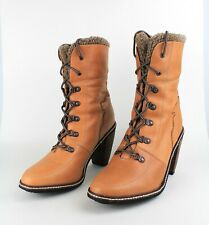 FEUD BRITANNIA (UK 8) EU 41 Brown Leather Heels Ankle Boots Lace Up Grunge Boho