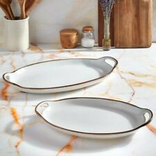 Gallery Tabletop Geneva Collections 2 Pc Serving Platters White