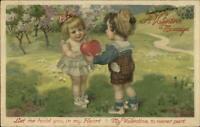 Winsch Valentine - Freixas? Cute Kids Exchange Heart c1910 Postcard