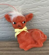"""VTG MCM Red Flocked Deer Ornament w White Hair & Yellow Ribbon Bow Tie 3""""H F/S"""