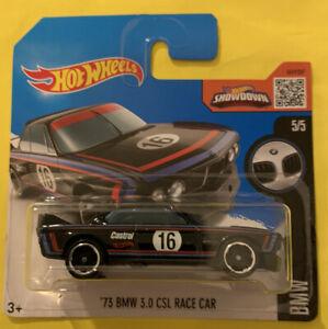 HOT WHEELS '73 BMW 3.0 CSL RACE CAR in BLACK - 2016 HW BMW Series 5/5 Short Card