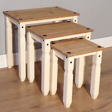 Corona Cream Painted Piccolo Nest of Tables Side End Tables by Mercers Furniture