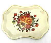 Vintage Hand Painted Metal Tole Tray Folk Art Floral Design