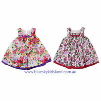 NEW Baby  Girls Cotton Dress A sharp Dress with Applique Flowers Size 000-6