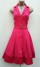 Size 10 UK KAREN MILLEN Pink Red Safari Shirt Trench 50's Style Flare Dress
