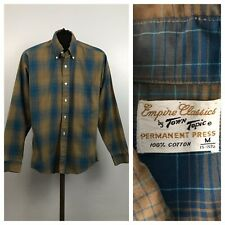 1960s Plaid Shirt / 60s Mod Plaid Checked Button Down Collar Shirt L/S Small