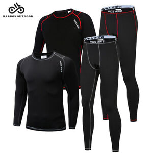 Mens Compression Winter Thermal Base Layer Tights Shirt Pants Set Underwear Suit