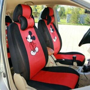 12 Pcs Mickey Mouse Car Seat Cover Cartoon Universal Breathable Interior Styling