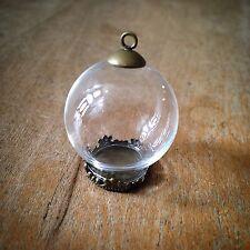 DIY Globe Clear Cloche Glass Bottle Pendant Antique Bronze  Apothecary Terrarium