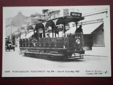 POSTCARD RP PORTSMOUTH 'TOASTRACK' TRAM NO 104 - NORTH END C1932