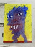 """Original Art ACEO Card Miniature Painting - """"Needy Thing"""" Signed by Artist"""