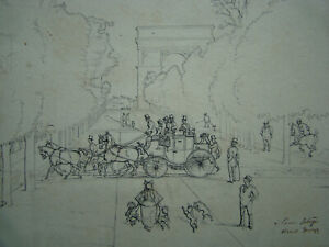 ORIGINAL VICTORIAN DRAWING signed CRAFTY 4 HORSES COUPLING STAGECOACH PARIS 19th