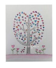 Heart Tree Pinks And Blues Original A4 Watercolour  By Kenna Matthews