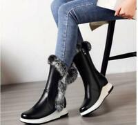 Winter Women Fur Warm Leather Low Heel Fur Lined Shoes Mid-Calf Boots Casual New