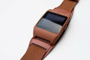 Sony SmartWatch 3 SWR-50 housing/adapter with brown leather/nylon strap