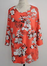 Denim & Co Size 1X Floral Print Round Neck 3/4-Sleeve Top Poppy Red Shirt New
