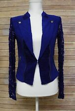 Material Girl Juniors Lace Back Sleeve Moto Jacket Surf The Web Blue S AM185