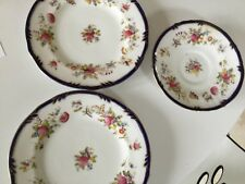 Pointons, bone china, royal blue and floral, beautiful, 1 saucer 2 teaplates