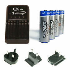 2 Hour Fast AA/AAA Travel Charger with 4 x 2900mAh AA Batteries