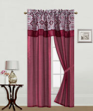 5PC SOLID WINDOW CURTAIN SET WITH ATTACHED PRINTED VALANCE AND TIE BACK R8