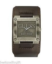 NEW GUESS BROWN LEATHER CUFF AGED SILVER S/STEEL MEN LOGO WATCH-U95083G2