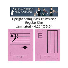 String Bass 1st Pos 4.25x5.5 Laminated Music Flashcards