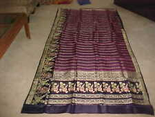 NAVY Blue RASBERRY PURPLE Gold PURE Silk MAGNIFICENT Sari Fabric PANELS Drapes